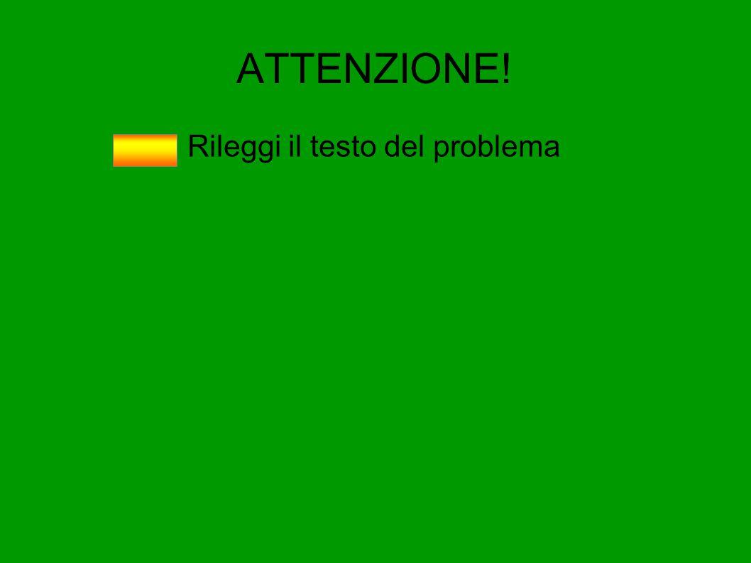 ATTENZIONE! Rileggi il testo del problema