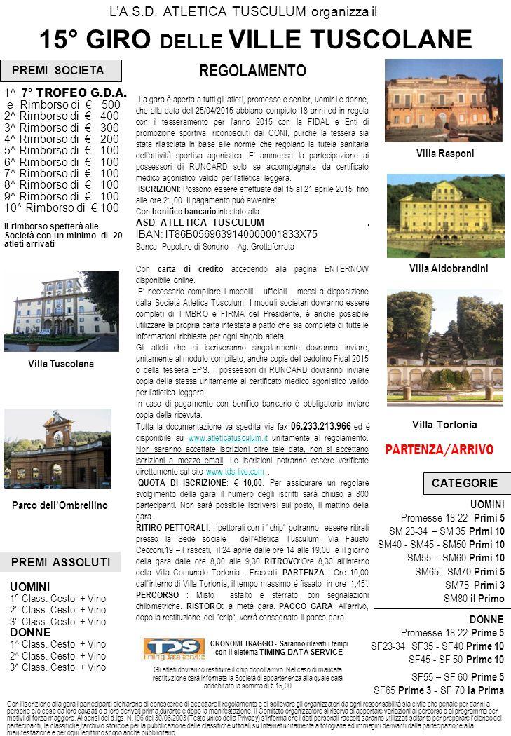 15° GIRO DELLE VILLE TUSCOLANE Parco dell'Ombrellino