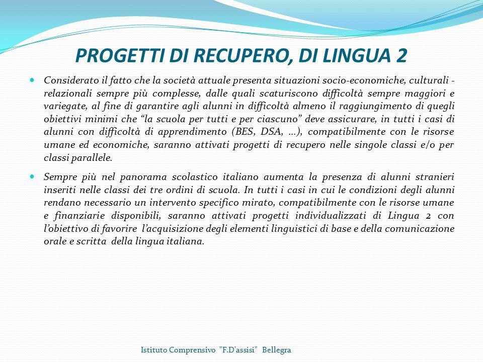 PROGETTI DI RECUPERO, DI LINGUA 2