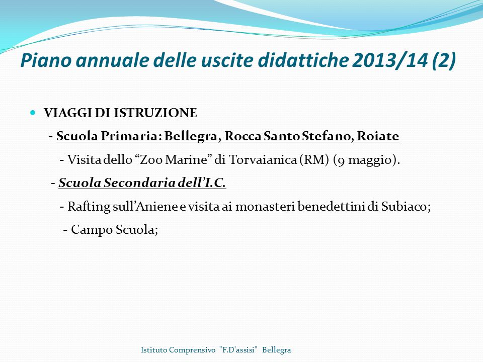 Piano annuale delle uscite didattiche 2013/14 (2)