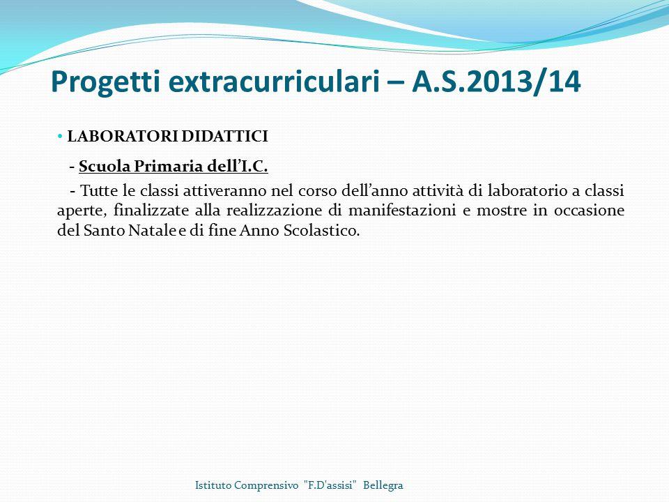 Progetti extracurriculari – A.S.2013/14