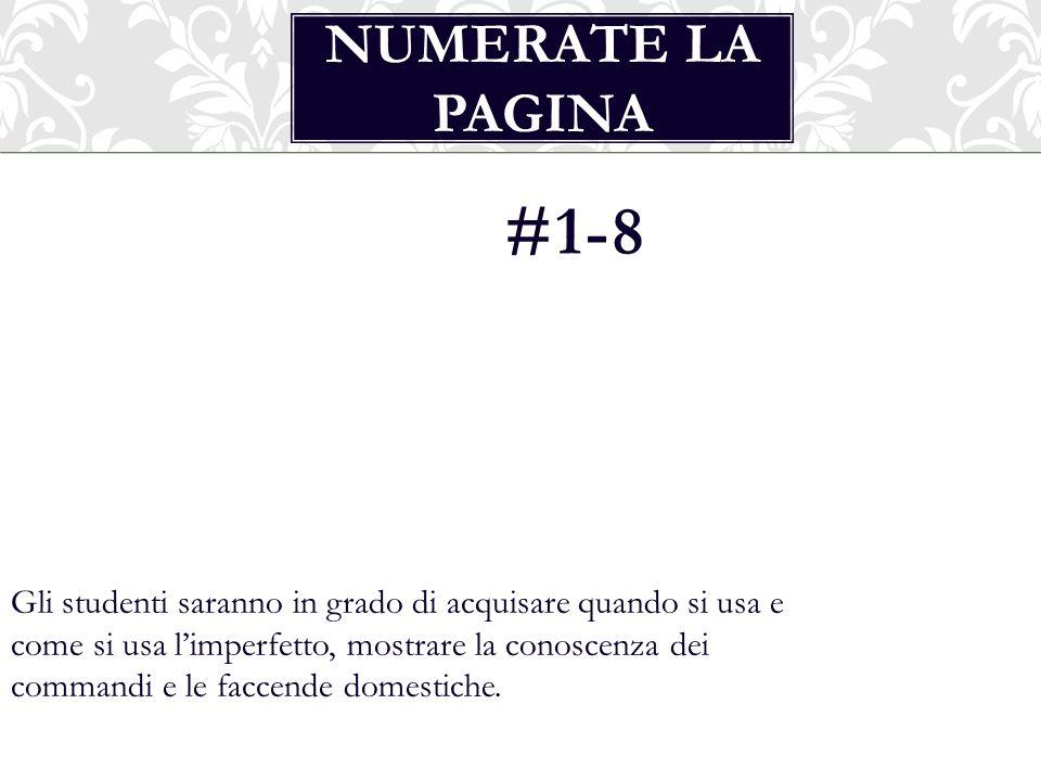 Numerate la pagina #1-8.