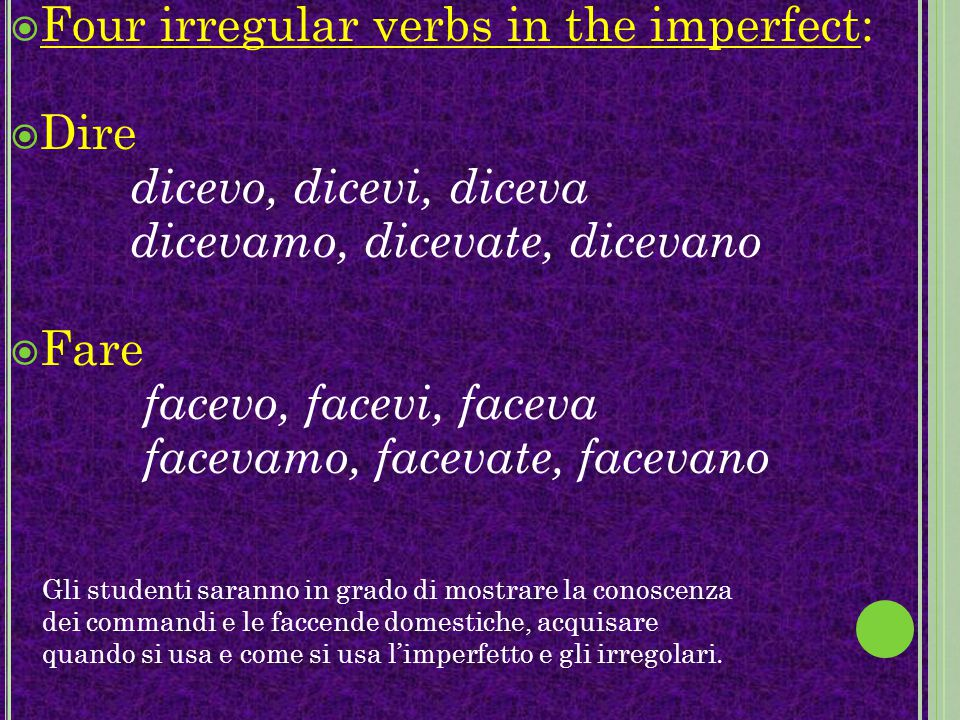 Four irregular verbs in the imperfect: Dire dicevo, dicevi, diceva