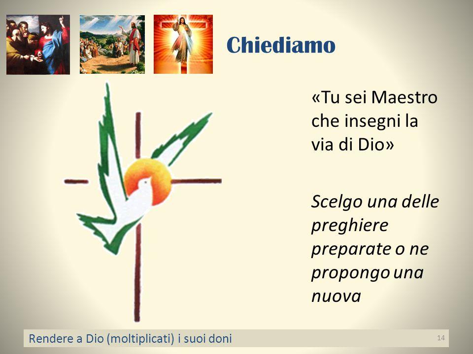 Chiediamo «Tu sei Maestro che insegni la via di Dio» Scelgo una delle preghiere preparate o ne propongo una nuova