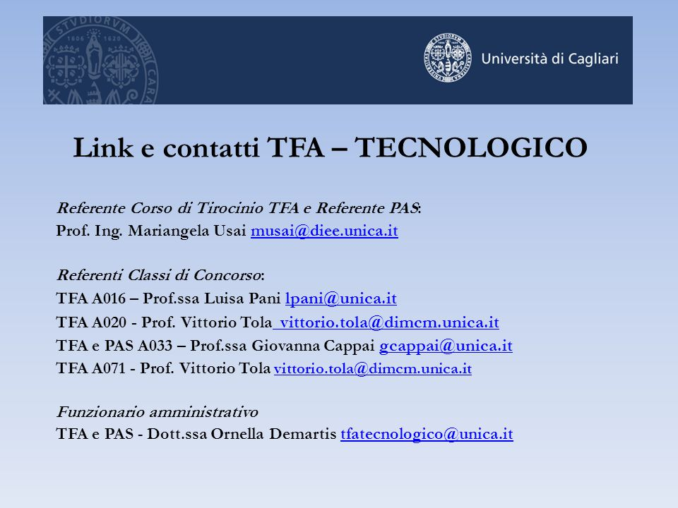 Link e contatti TFA – TECNOLOGICO