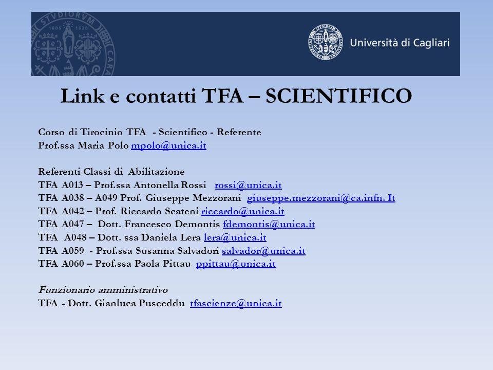 Link e contatti TFA – SCIENTIFICO