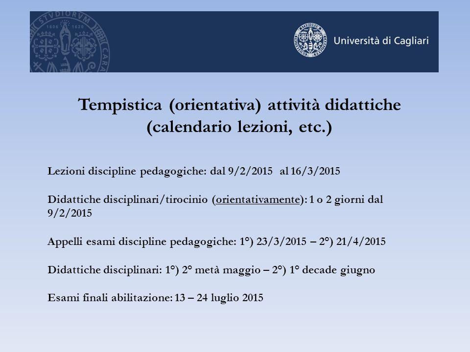 Tempistica (orientativa) attività didattiche (calendario lezioni, etc