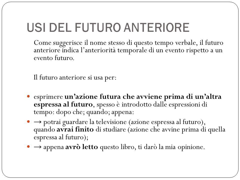 USI DEL FUTURO ANTERIORE