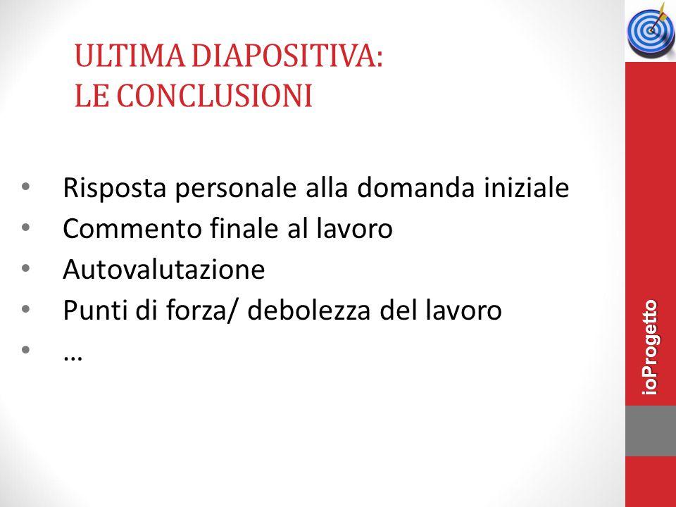 Ultima diapositiva: le conclusioni