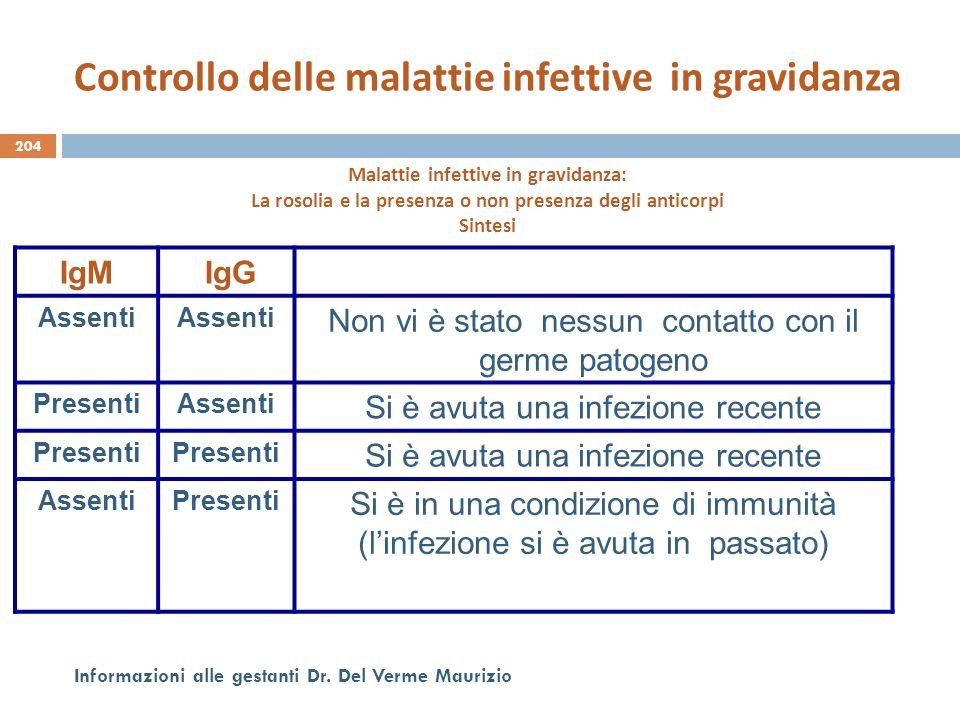 Controllo delle malattie infettive in gravidanza