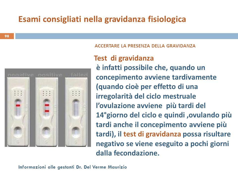 Esami consigliati nella gravidanza fisiologica