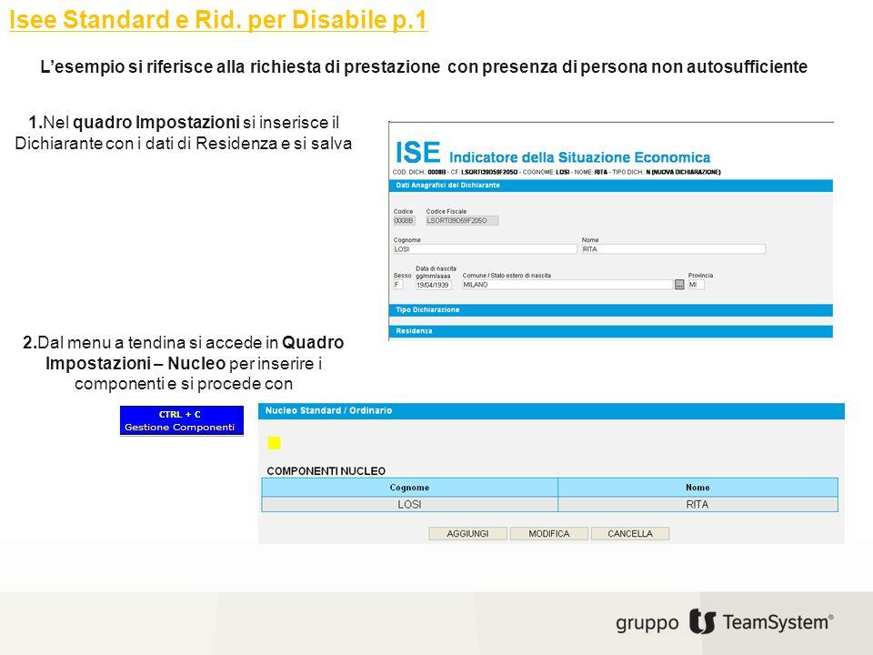 Isee Standard e Rid. per Disabile p.1