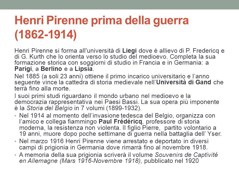 Henri Pirenne prima della guerra (1862-1914)