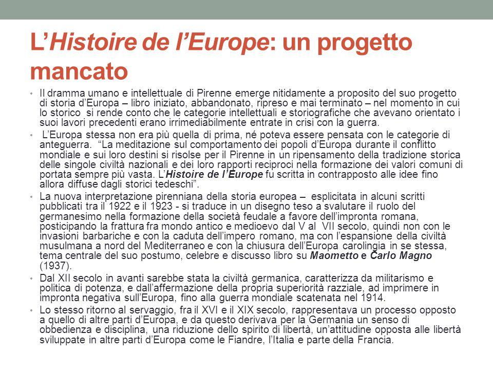 L'Histoire de l'Europe: un progetto mancato