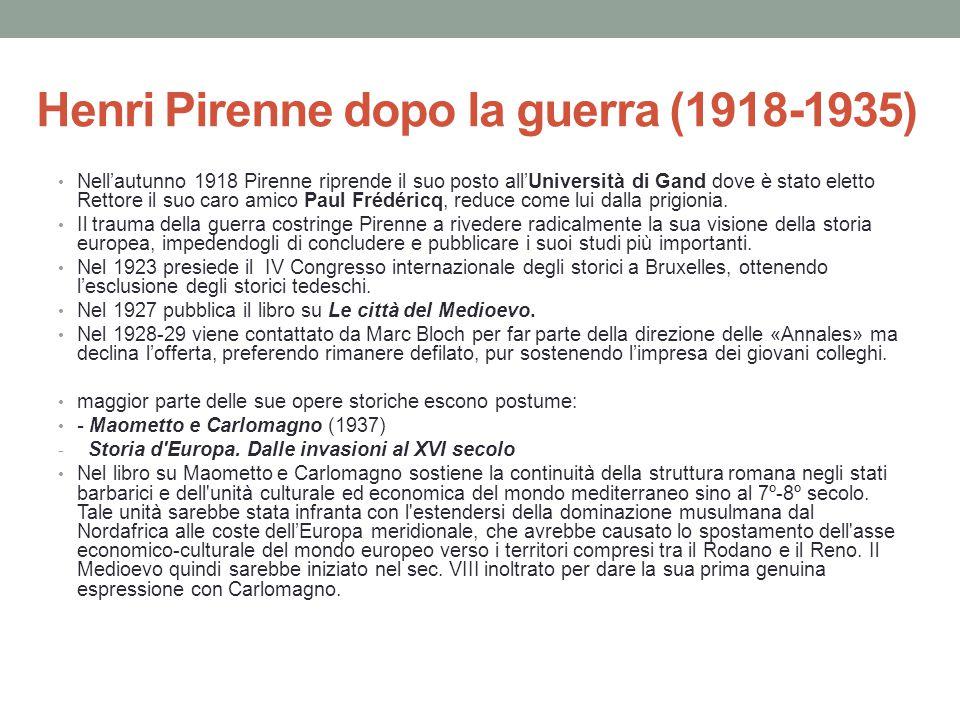 Henri Pirenne dopo la guerra (1918-1935)