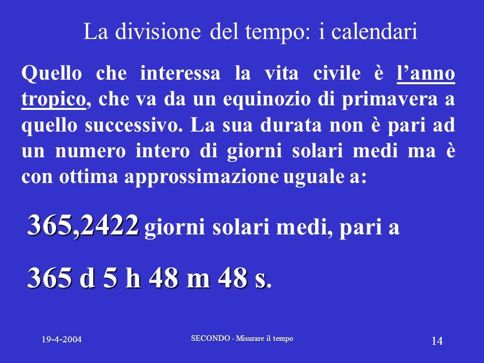 La divisione del tempo: i calendari