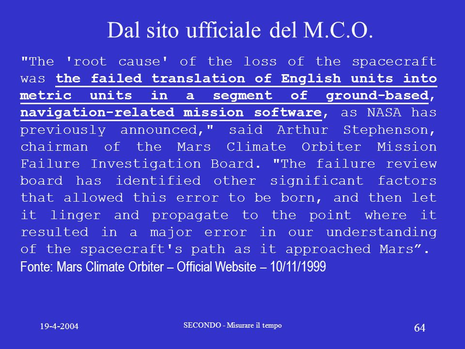 Dal sito ufficiale del M.C.O.