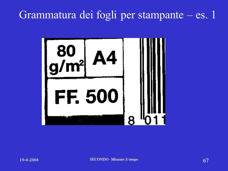 Grammatura dei fogli per stampante – es. 1