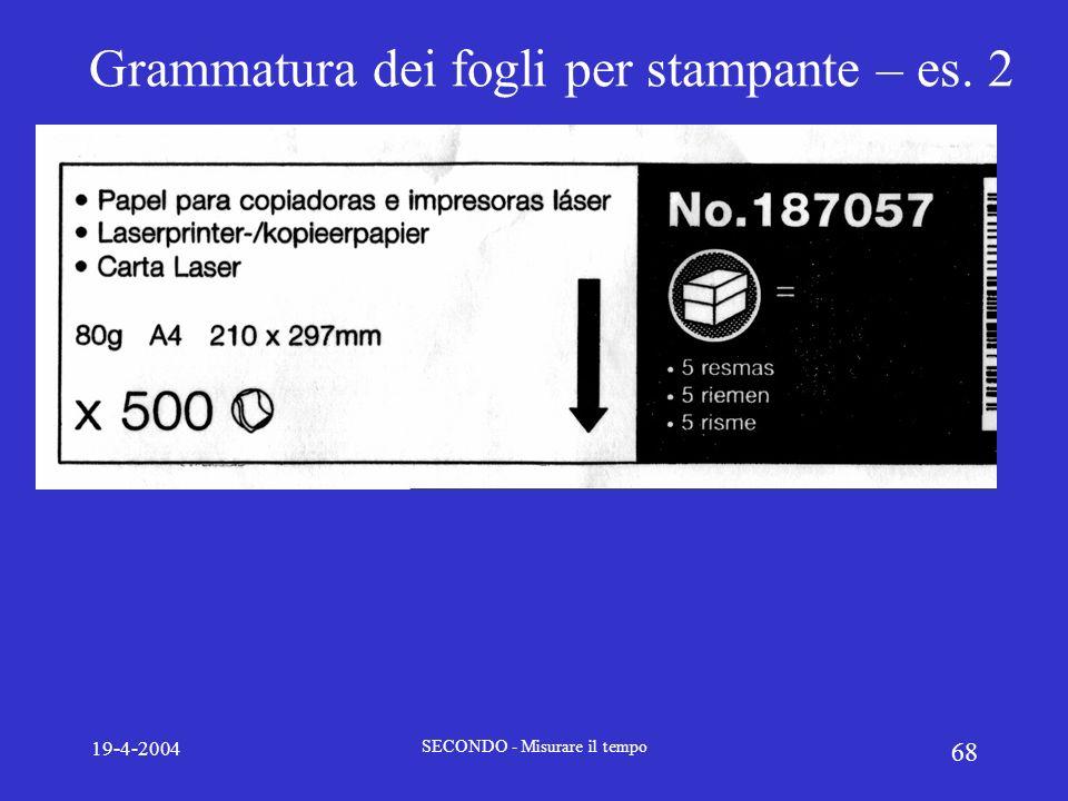 Grammatura dei fogli per stampante – es. 2