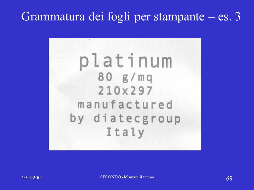 Grammatura dei fogli per stampante – es. 3