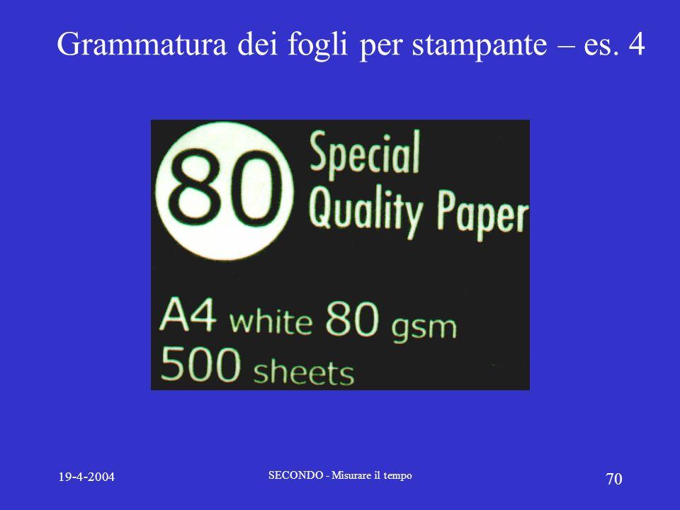 Grammatura dei fogli per stampante – es. 4