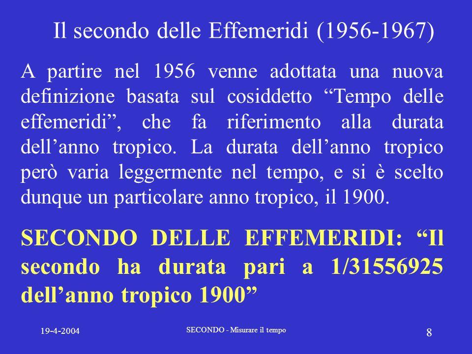 Il secondo delle Effemeridi (1956-1967)