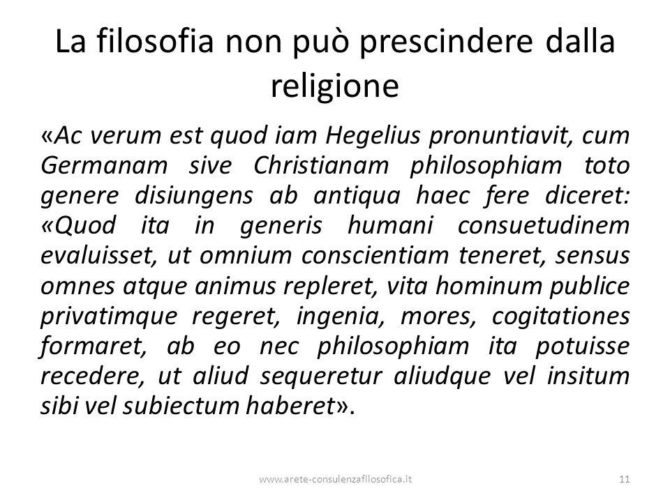La filosofia non può prescindere dalla religione