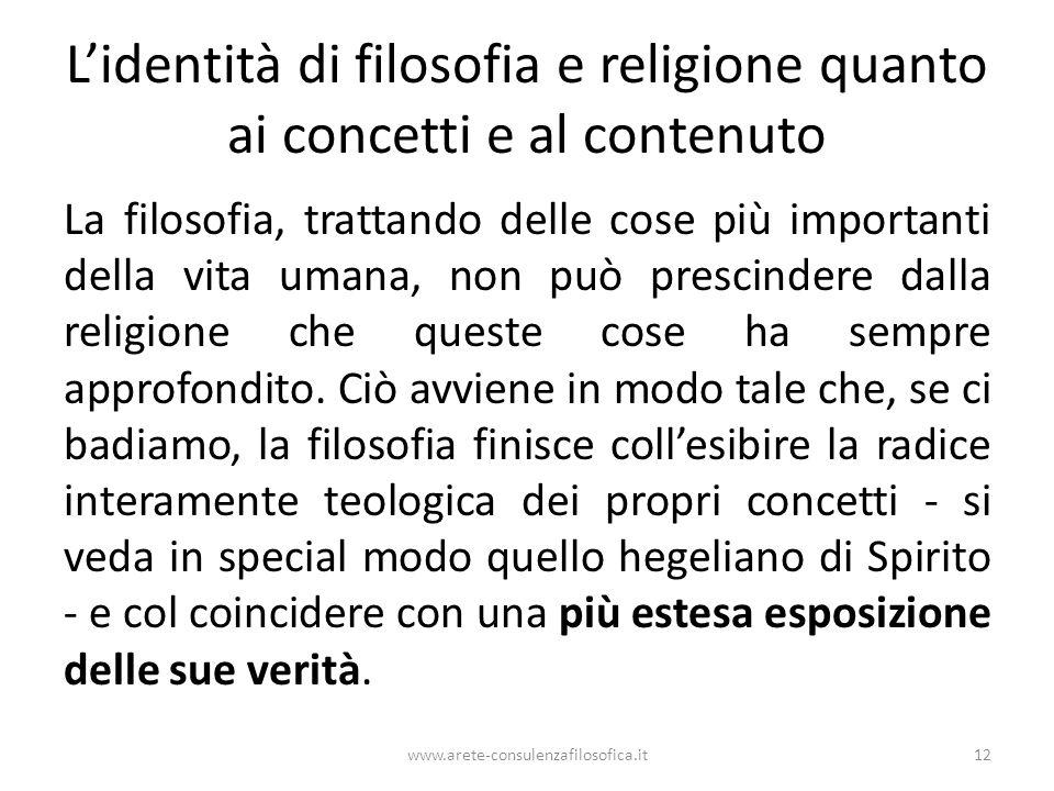L'identità di filosofia e religione quanto ai concetti e al contenuto