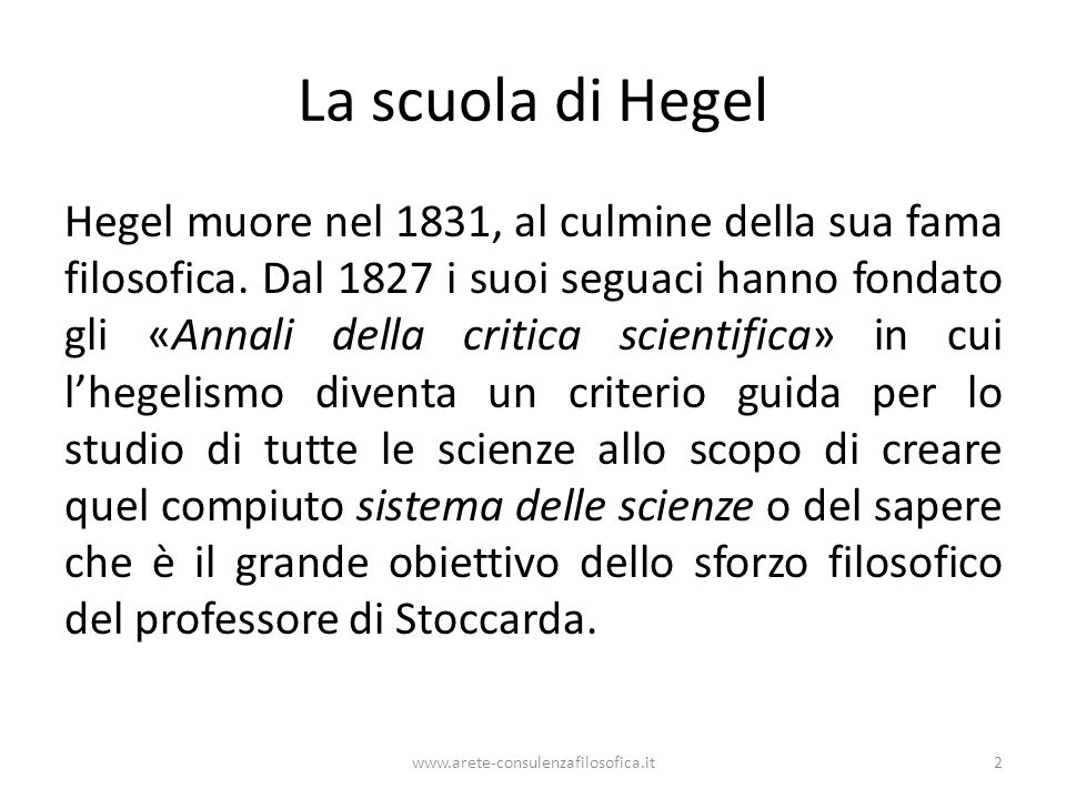 La scuola di Hegel
