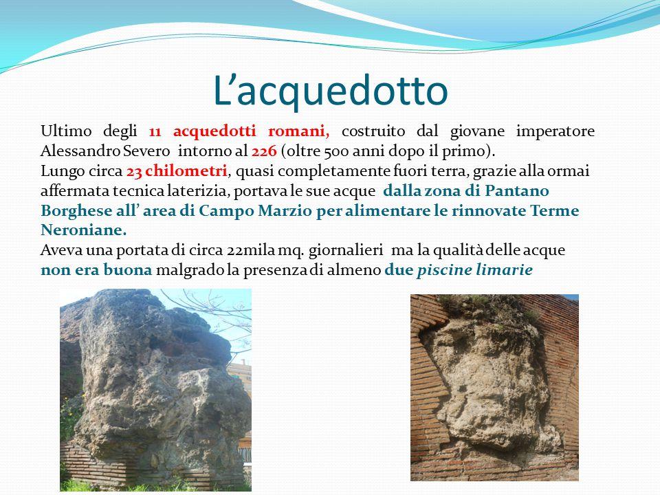 L'acquedotto Ultimo degli 11 acquedotti romani, costruito dal giovane imperatore Alessandro Severo intorno al 226 (oltre 500 anni dopo il primo).