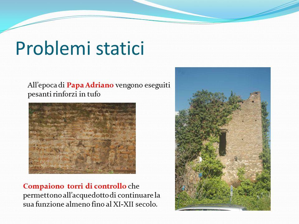Problemi statici All'epoca di Papa Adriano vengono eseguiti pesanti rinforzi in tufo.