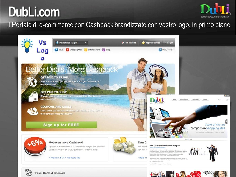 Il Portale di e-commerce con Cashback brandizzato con vostro logo, in primo piano