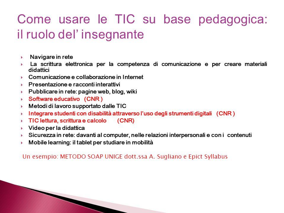 Come usare le TIC su base pedagogica: il ruolo del' insegnante