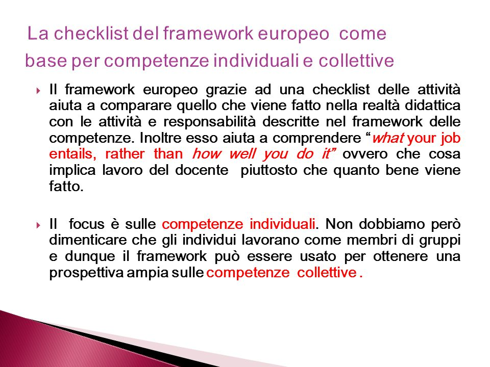 La checklist del framework europeo come base per competenze individuali e collettive