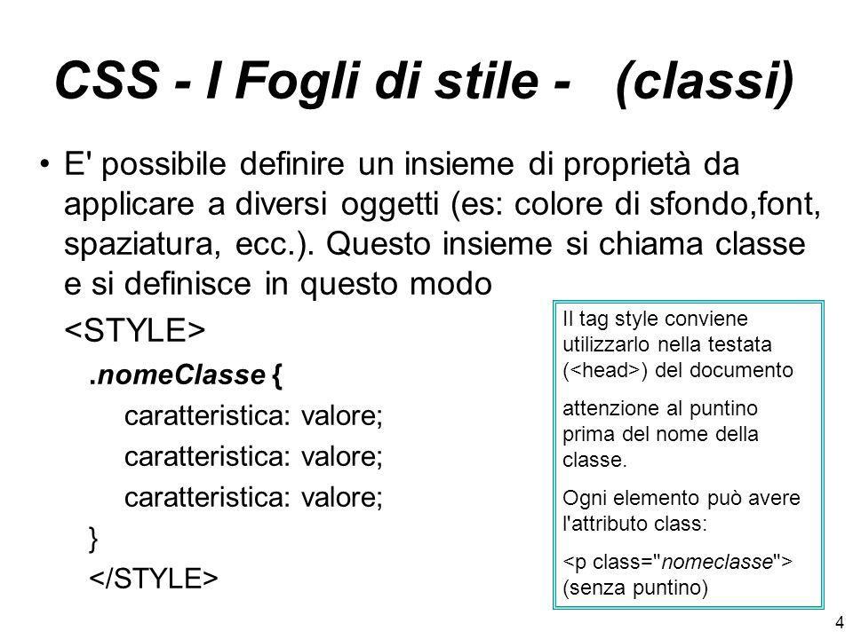 CSS - I Fogli di stile - (classi)