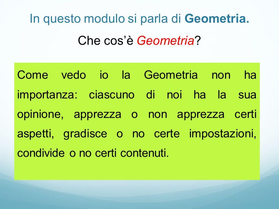 In questo modulo si parla di Geometria. Che cos'è Geometria