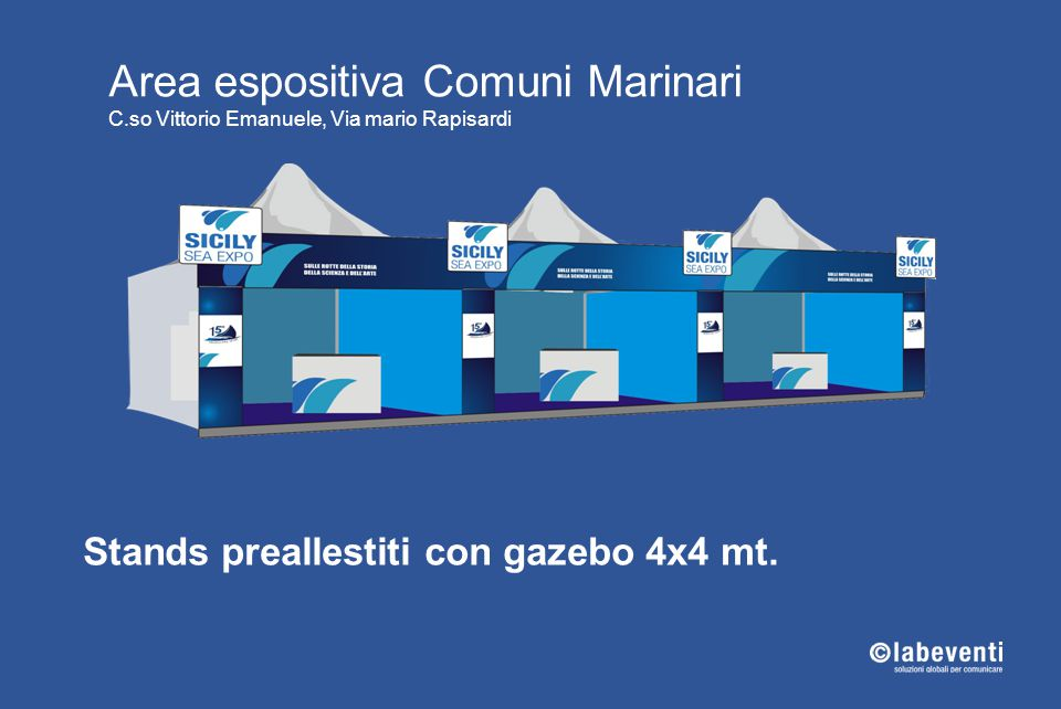 Stands preallestiti con gazebo 4x4 mt.