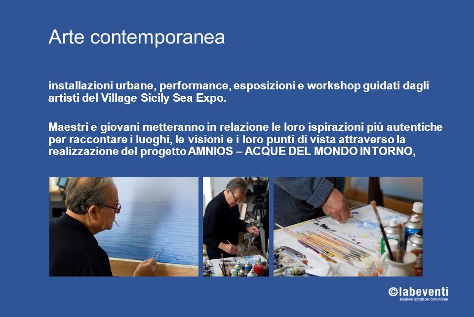 Arte contemporanea installazioni urbane, performance, esposizioni e workshop guidati dagli artisti del Village Sicily Sea Expo.