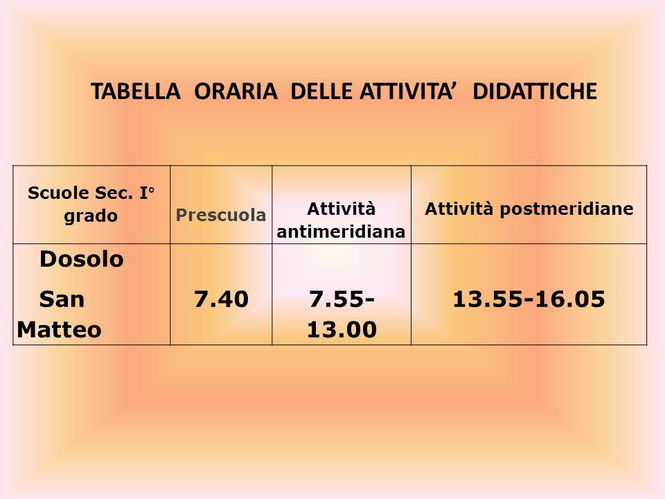 TABELLA ORARIA DELLE ATTIVITA' DIDATTICHE