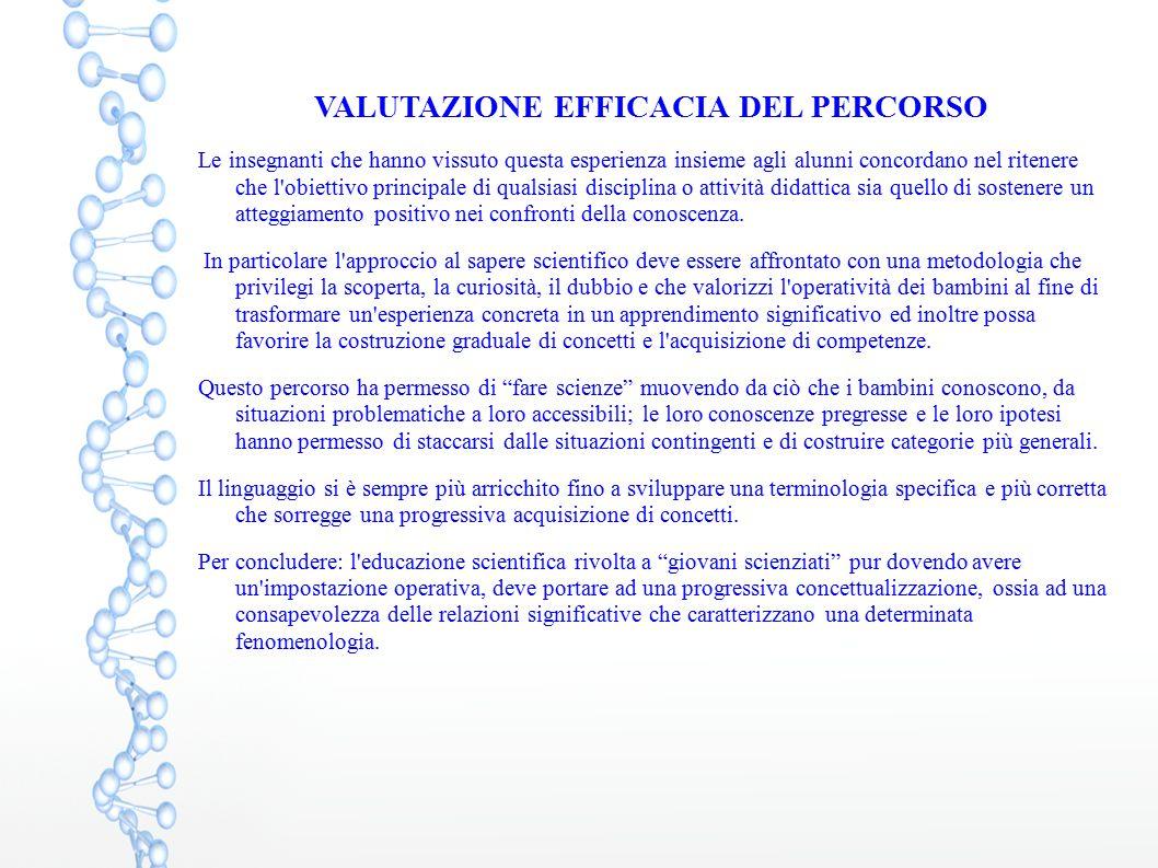 VALUTAZIONE EFFICACIA DEL PERCORSO