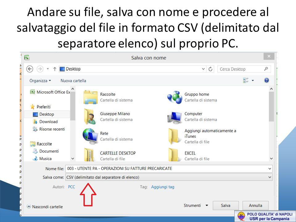 Andare su file, salva con nome e procedere al salvataggio del file in formato CSV (delimitato dal separatore elenco) sul proprio PC.