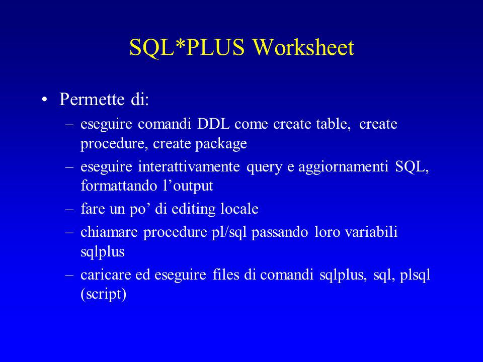 SQL*PLUS Worksheet Permette di: