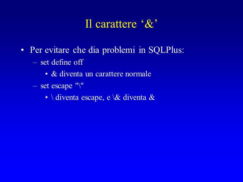 Il carattere '&' Per evitare che dia problemi in SQLPlus: