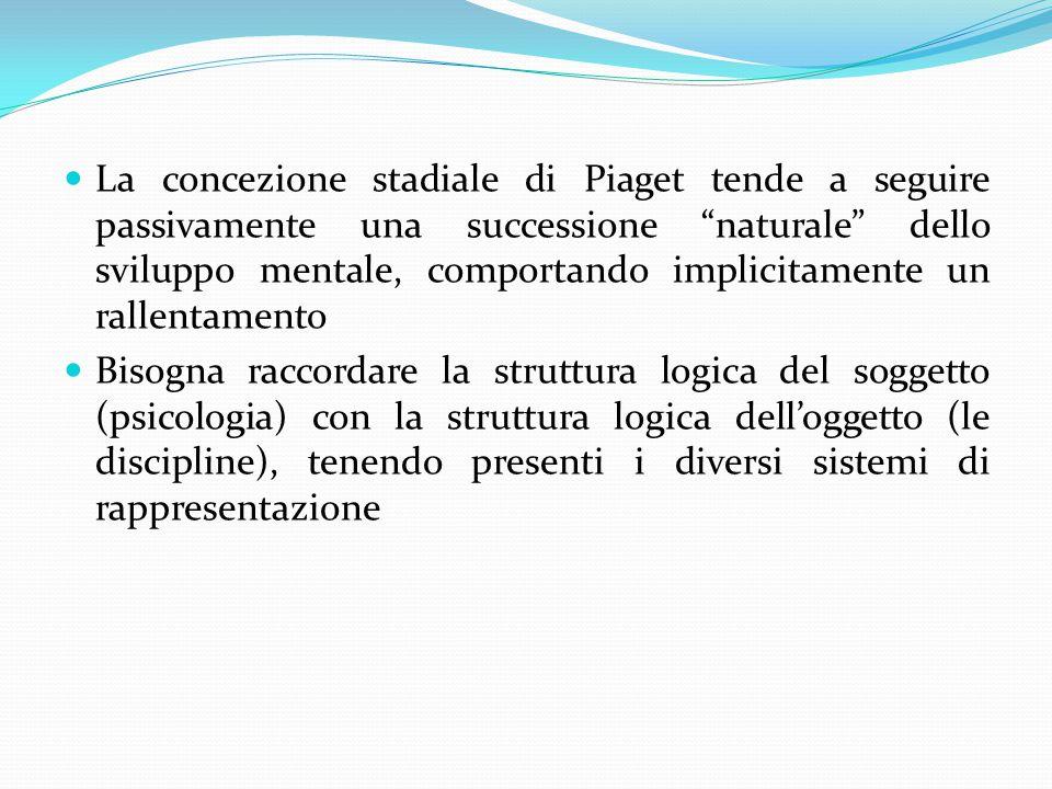 La concezione stadiale di Piaget tende a seguire passivamente una successione naturale dello sviluppo mentale, comportando implicitamente un rallentamento