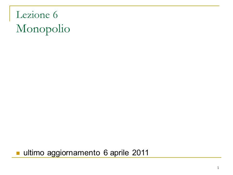 Lezione 6 Monopolio ultimo aggiornamento 6 aprile 2011