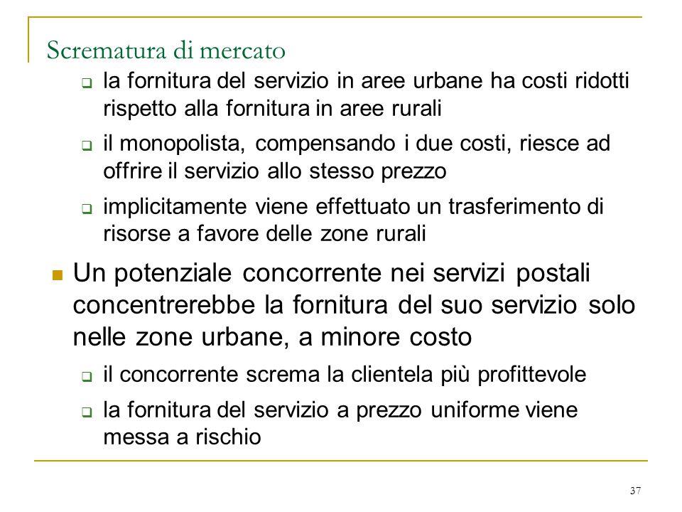 Scrematura di mercato la fornitura del servizio in aree urbane ha costi ridotti rispetto alla fornitura in aree rurali.
