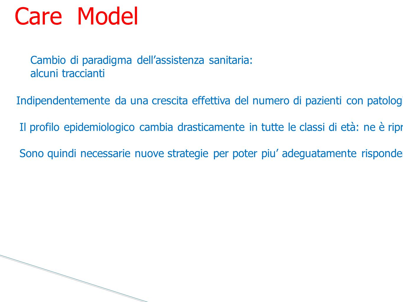 Chronic Care Model Cambio di paradigma dell'assistenza sanitaria: