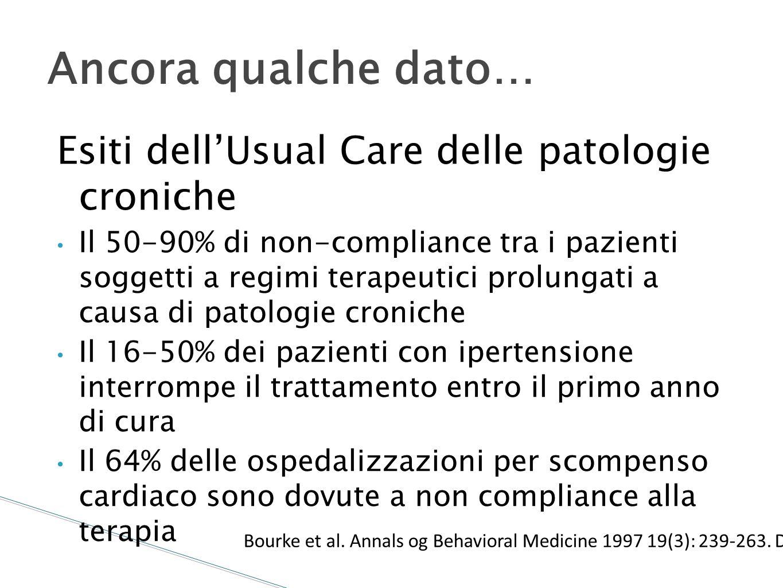 Ancora qualche dato… Esiti dell'Usual Care delle patologie croniche