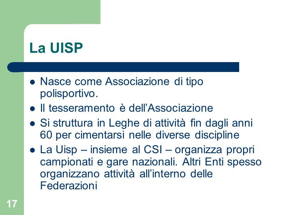 La UISP Nasce come Associazione di tipo polisportivo.