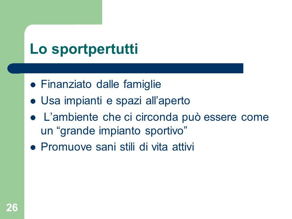 Lo sportpertutti Finanziato dalle famiglie